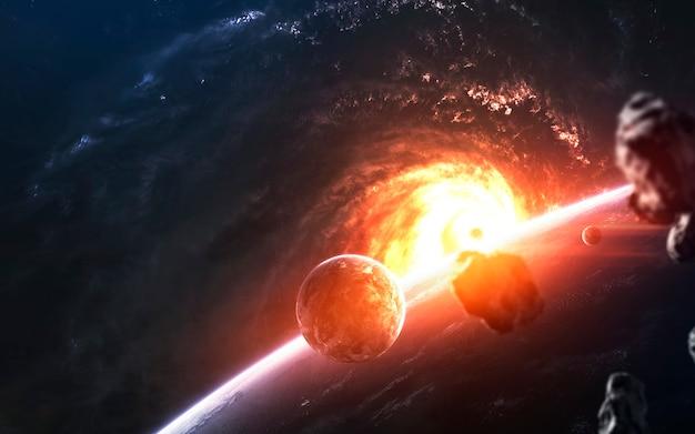 Les planètes devant la galaxie rougeoyante, un superbe fond d'écran de science-fiction.