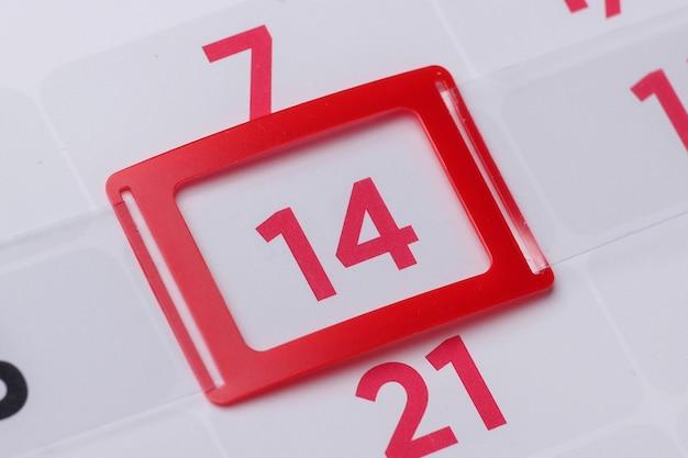 Planificateur de calendrier pour le mois, 14 jours du mois. la saint-valentin