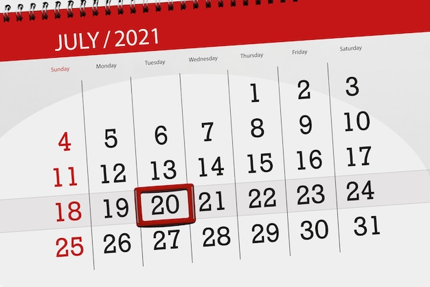 Planificateur de calendrier pour le mois de juillet 2021, jour de la date limite, 20, mardi.