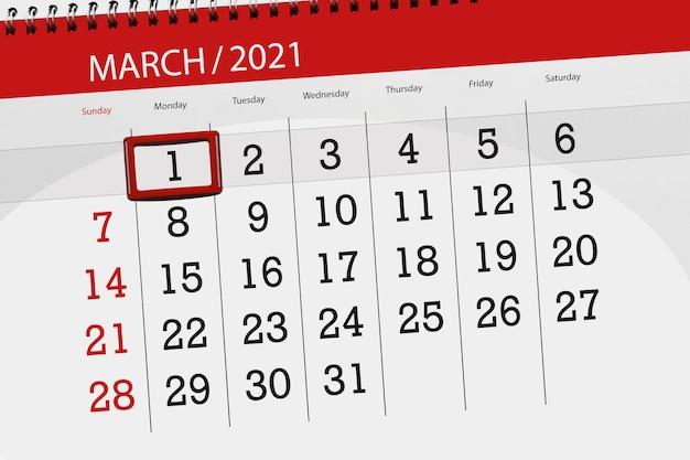 Planificateur de calendrier pour le mois de mars 2021, date limite, 1, lundi.