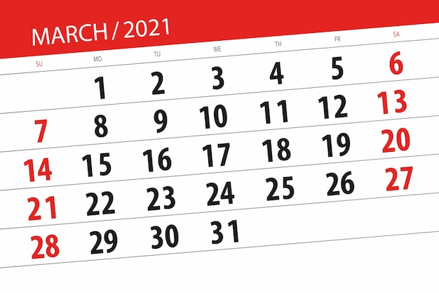 Planificateur de calendrier pour le mois de mars 2021, date limite.