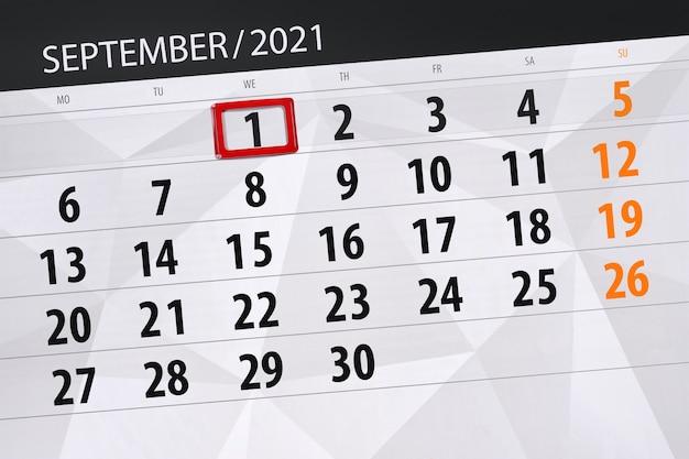 Planificateur de calendrier pour le mois de septembre 2021, jour de la date limite, 1, mercredi.