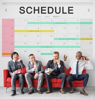 Planificateur d'événements de table de programme concept