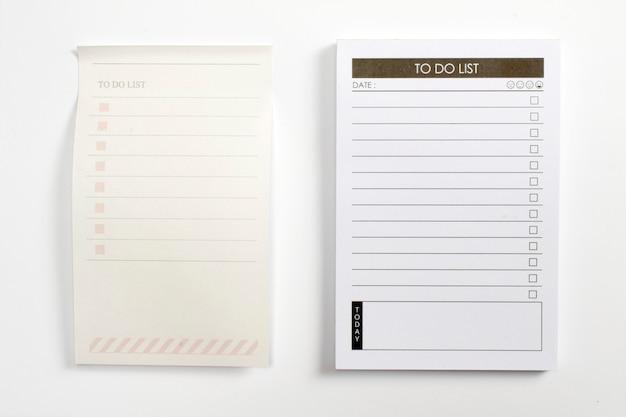 Planificateur de liste vide à faire avec liste de contrôle isolé sur fond blanc.