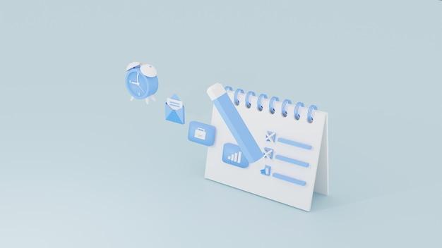 Planificateur quotidien pour faire la liste de l'organisateur scedule concept 3d