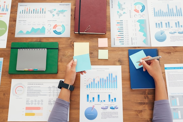 Planification des affaires flatlay background