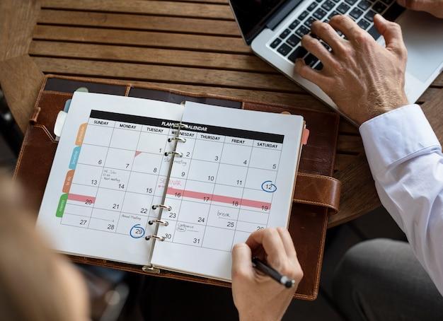 Planification du calendrier de gestion de l'organisateur personnel