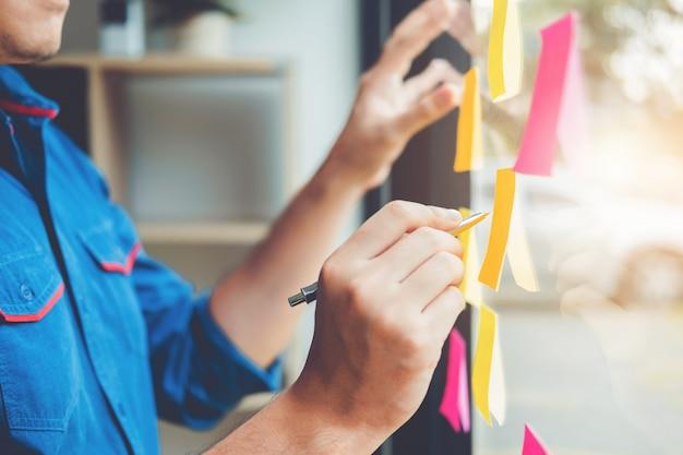 Planification d'entreprise créative et réflexion sur le projet de travail réussi