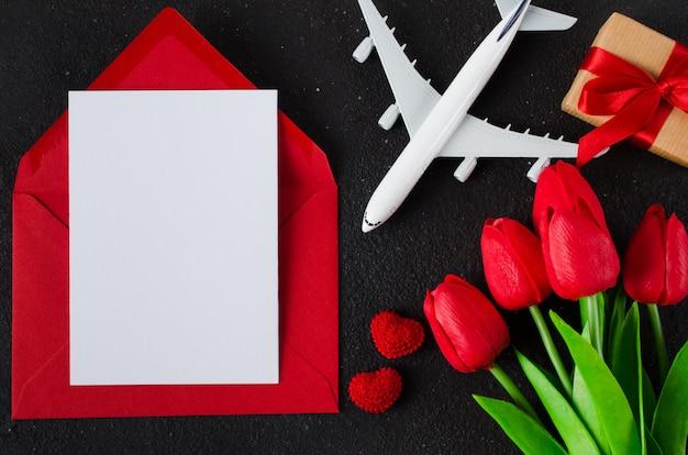 Planification de voyage de vacances. concept de voyage cadeau. maquette.