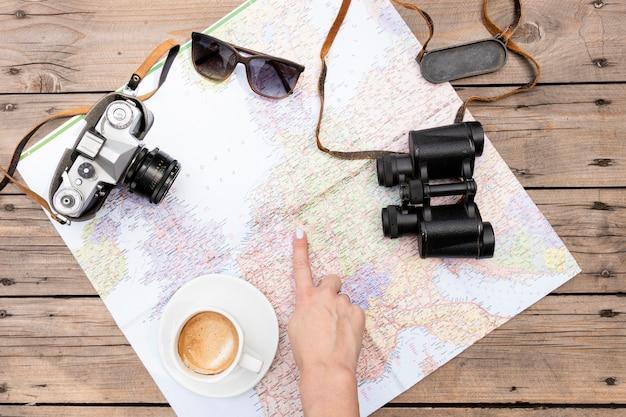 Planification d'un voyage vue de dessus