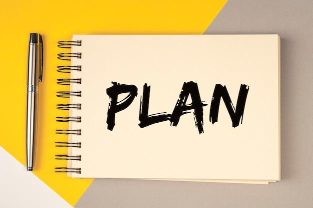 Planifier le mot sur ordinateur portable ou bloc-notes, concept de planification.