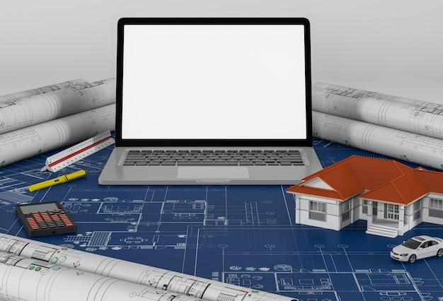 Plans de construction avec ordinateur portable et maison. rendu 3d