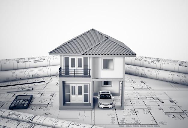 Plans de construction avec des outils de dessin et maison, concept de logement architectural.