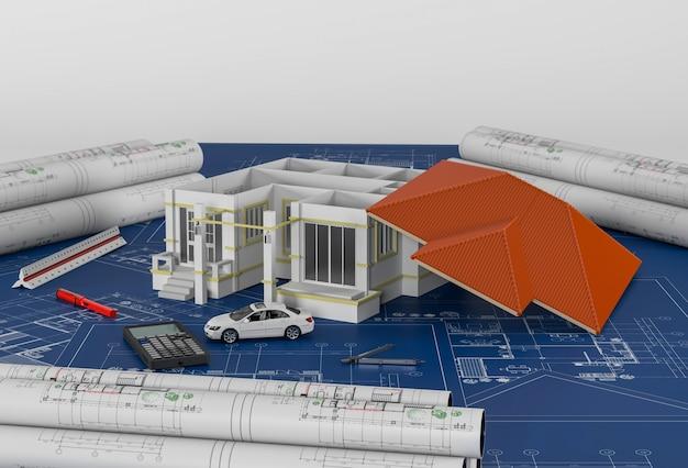 Plans de construction avec outils de dessin et maison. rendu 3d