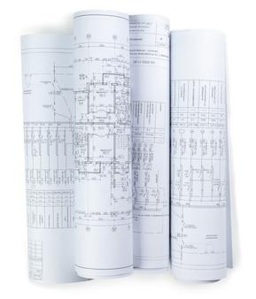 Plans de construction en rouleaux isolés