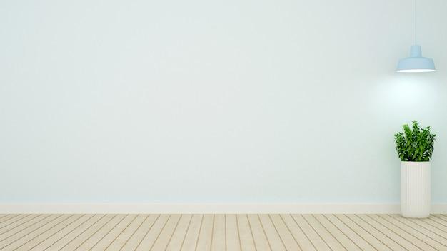 Plante et lampe suspendue dans une salle vide sur ton bleu clair - 3d ren