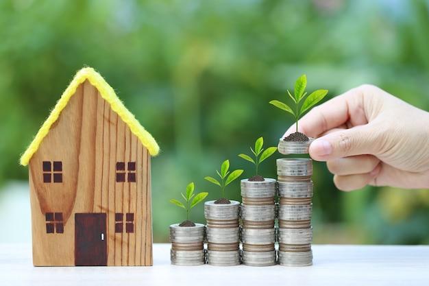 Plante poussant sur pile de pièces d'argent et maison modèle sur vert naturel