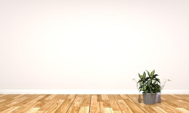 Plante et vase sur table en parquet sur fond de mur blanc vide. rendu 3d