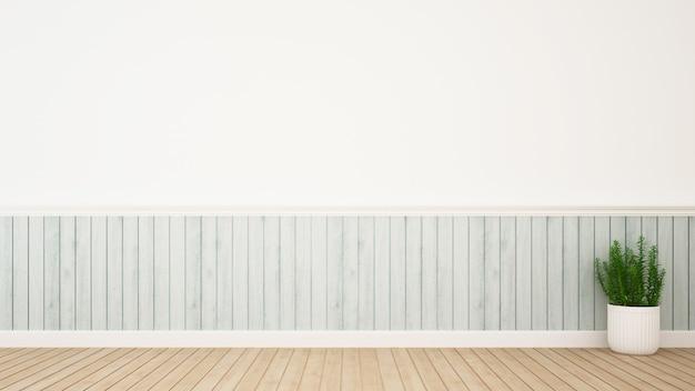 Planter dans la décoration de la salle et un espace pour les œuvres d'art - rendu 3d