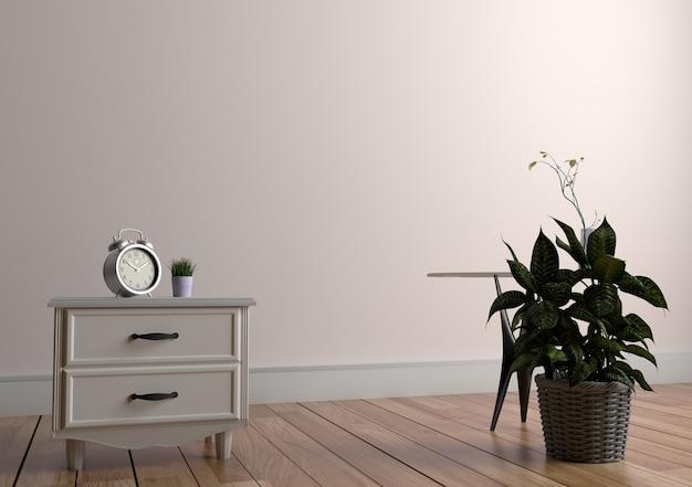 Planter et vase sur la table dans le plancher de bois sur fond de mur blanc vide. rendu 3d