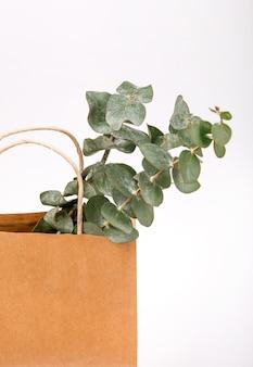 Plantes de papier brun artisanal à l'intérieur de fond blanc concept de printemps