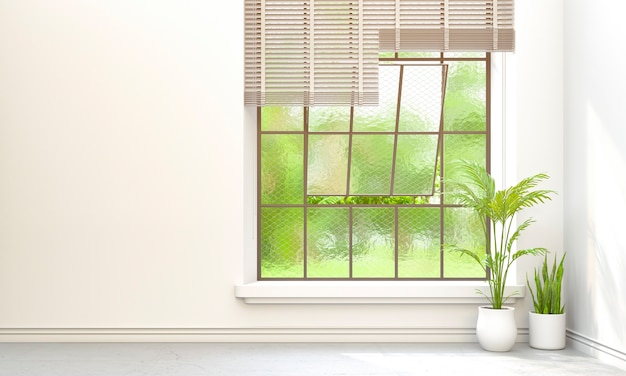 Plantes et paysage vert dans la fenêtre. rendu 3d