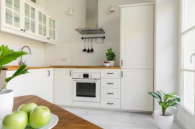 Plantez dans un intérieur de cuisine minimal blanc avec une hotte en argent au-dessus du comptoir en bois. vrai photo