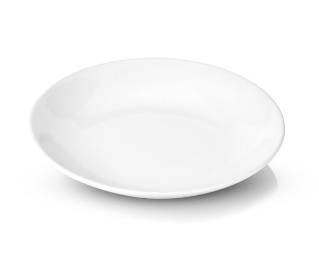 Plaque blanche isolée sur blanc