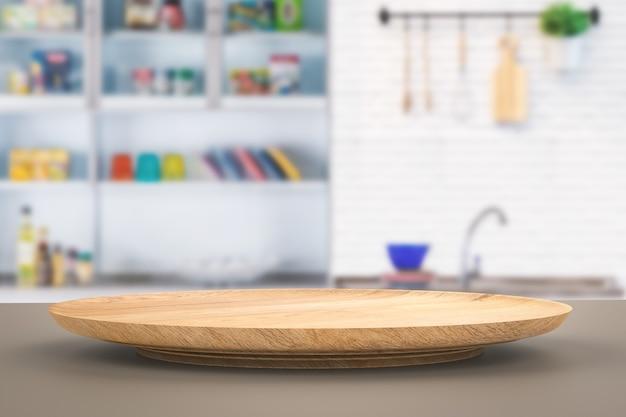 Plaque en bois de rendu 3d avec fond de cuisine