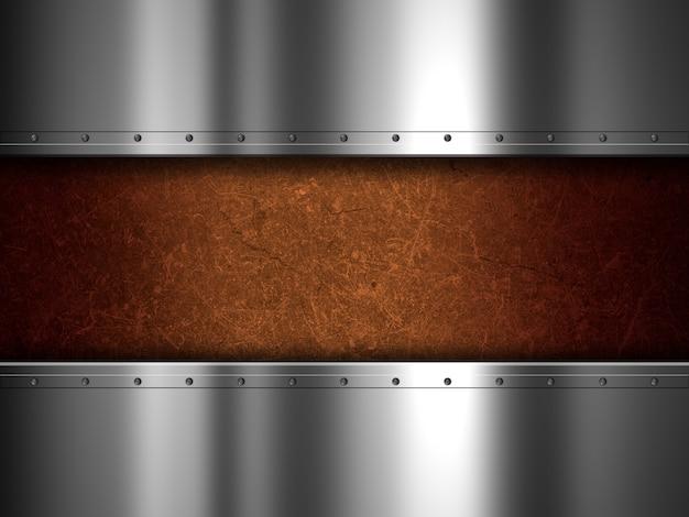 Plaque de métal brillant et grunge