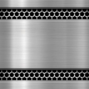 Plaque de métal sur fond de maille métallique ou de la texture