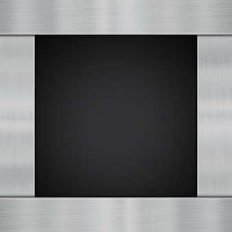 Plaques métalliques brillantes sur fond de fibre de carbone