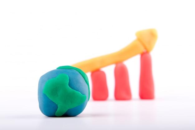Plasticine de la croissance mondiale des affaires graphique à barres