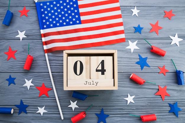 Plat lay de décorations de fête de l'indépendance des états-unis