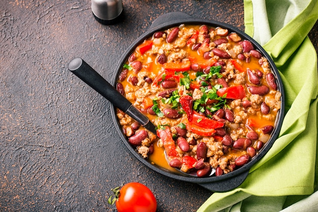 Plat mexicain traditionnel chili con carne