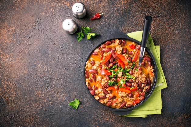 Plat mexicain traditionnel chili con carne