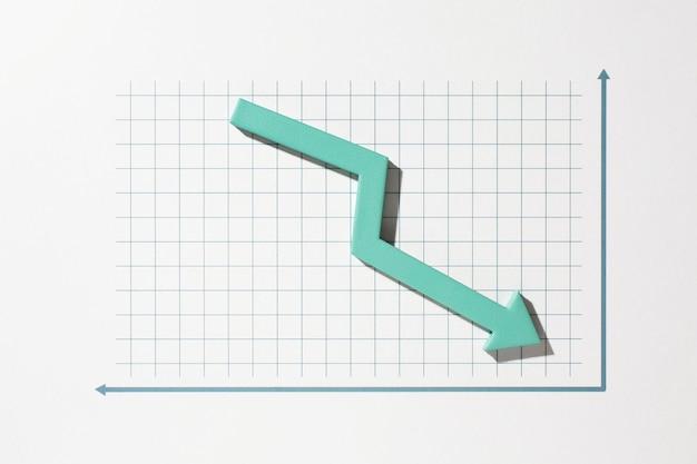 Plat de présentation des statistiques avec flèche