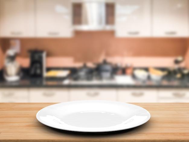 Plat vide de rendu 3d avec fond de cuisine