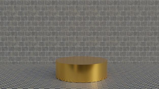 Plate-forme d'or 3d sur fond de mur de briques grises