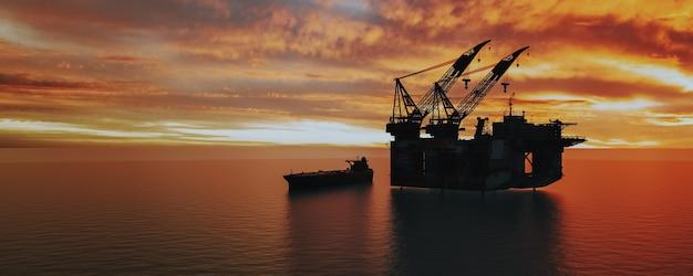 Plate-forme pétrolière et plate-forme gazière dans le transport de système offshore rendu 3d et illustartion du port en eau profonde