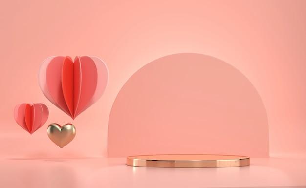 Plate-forme de podium en or de la saint-valentin avec décoration de coeurs pour la vitrine du produit
