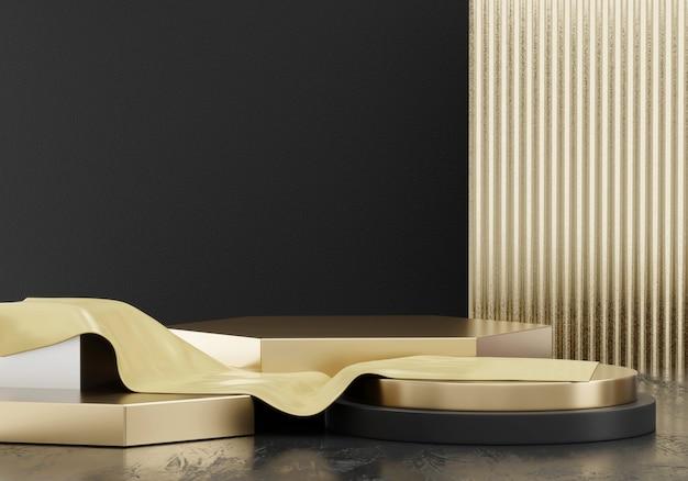 Plate-forme de scène abstraite élégance luxe doré, modèle pour produit publicitaire, rendu 3d.