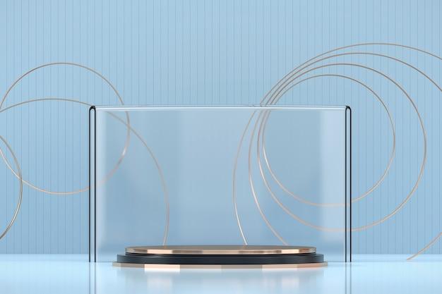 Plate-forme de scène abstraite élégance luxe or, modèle pour produit publicitaire, rendu 3d.