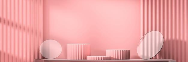 Plate-forme de scène d'affichage de produit rose tendre fond présent rendu 3d.