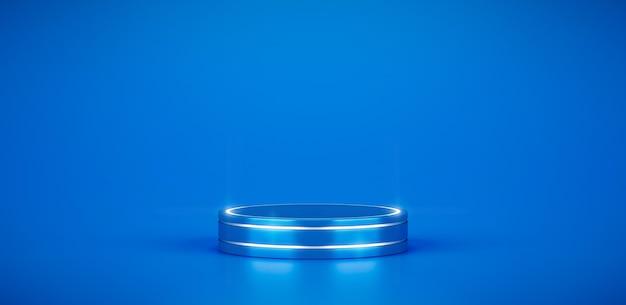 Plate-forme de scène de podium de produit bleu et présentoir de fond de piédestal géométrique minimal abstrait sur fond blanc de scène d'art illustration espace vide avec vitrine simple studio moderne. rendu 3d.