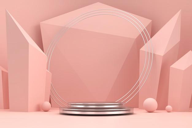 Plate-forme de scène de produit rose tendre et marbre présent fond rendu 3d.
