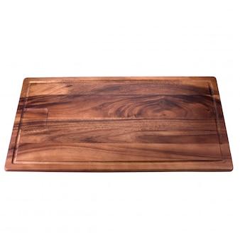 Plateau en bois carré sur fond blanc
