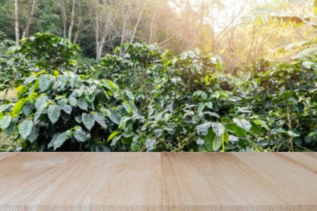 Plateau en bois sur fond flou de plantations de café.