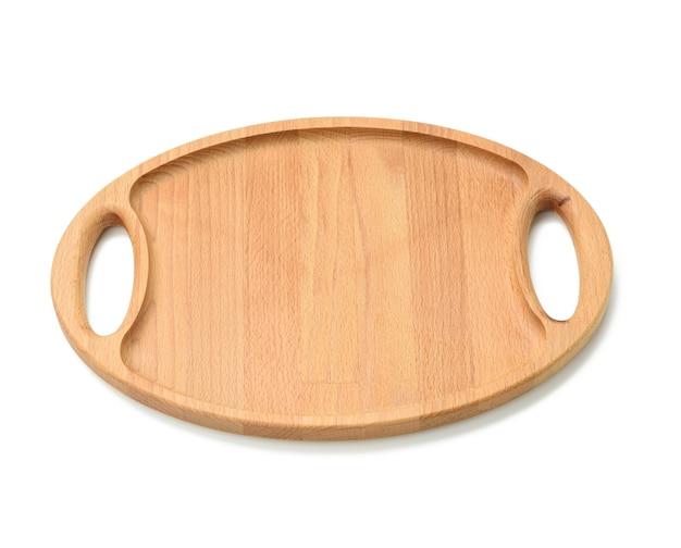 Plateau en bois ovale isolé