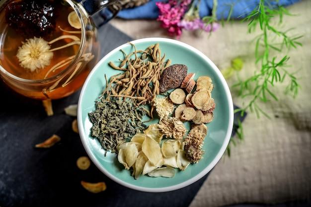 Plateau de plantes médicinales chinoises au thé parfumé
